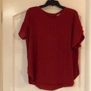 Loft Red Petal Sleeve Blouse